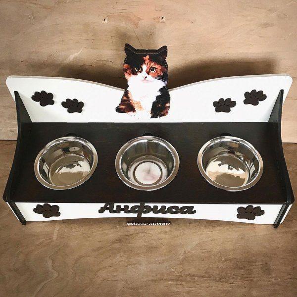 кормушка для питомца с тремя мисками для кошки для кота с именем и фото купить минск