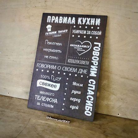 Табличка «Правила Кухни»