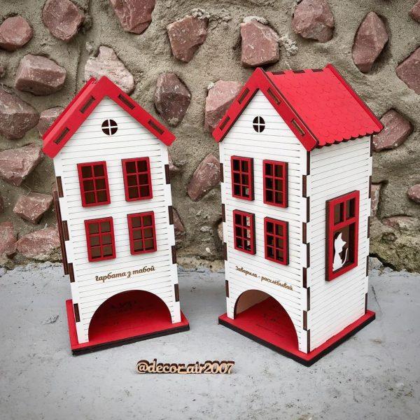 деревянный белый чайный домик с красной крышей и надписью купить в беларуси с доставкой