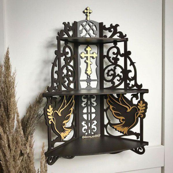 иконостас из дерева с полками для икон темный купить недорого
