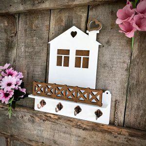 ключница домик с полочкой белая компактная с заборчиком купить недорого с доставкой беларусь
