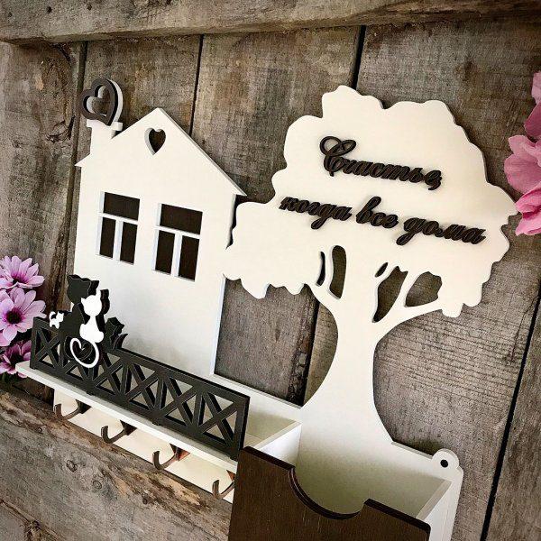 ключница настенная в виде домика с фамилией семьи купить недорого фото