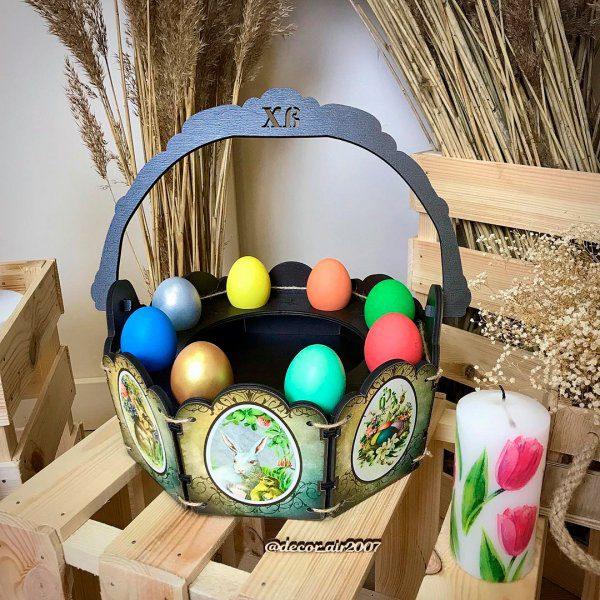 лукошко пасхальное для яиц и кулича в виде корзины с рисунками купить недорого в минске с доставкой по беларуси