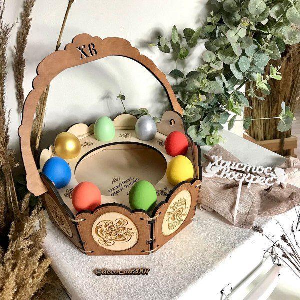 лукошко для кулича и яиц к пасхе подарок