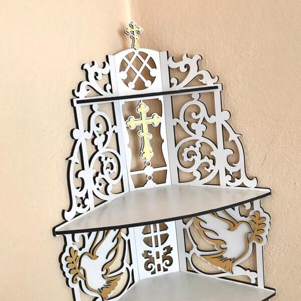 Полочка для икон белая деревянная иконостас для дома угловой заказать с доставкой в интернет магазине в Минске
