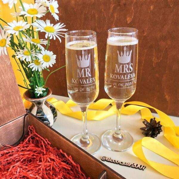 бокалы для шампанского мистер и миссис mr mrs фамильные на свадьбу заказать с гравировкой в Минске с доставкой