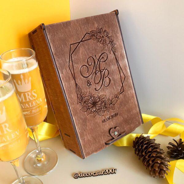Свадебные бокалы для шампанского с гравировкой «Mr&Mrs»