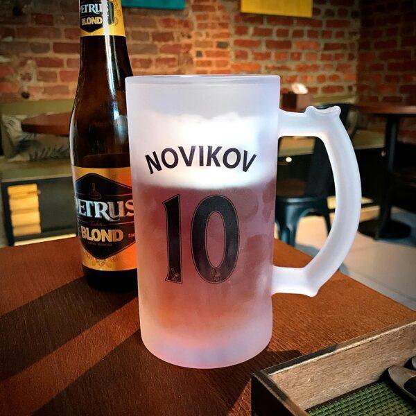 Бокал футбольного клуба с именем и номером футбольный купить в подарок для любителя футбола с доставкой в Минске