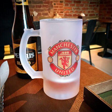 Футбольный пивной бокал ФК «Манчестер Юнайтед» (с лого любого футбольного клуба)