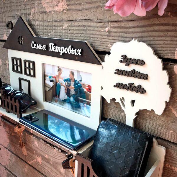 Купить настенную ключницу в прихожую с фото и фамилией семьи с доставкой в интернет магазине в Беларуси