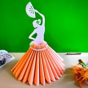 Подставка для салфеток в виде девушки беларины с веером белая с платьем купить с доставкой в Минске, Гомеле, Бобруйске