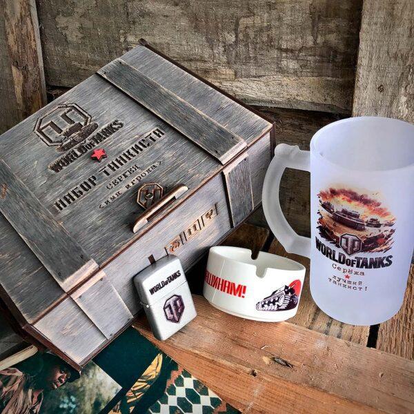 набор подарков для любителя wot ворлд оф танкс в деревянной коробке в магазине подарков купить с доставкой по Беларуси