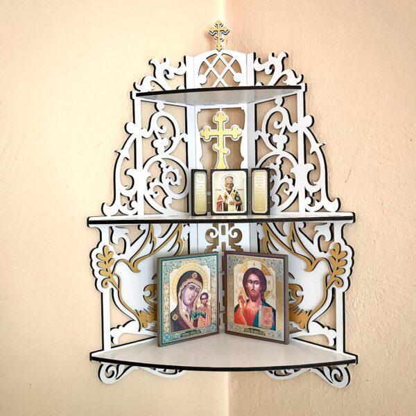 Полка для икон из дерева угловая домашний иконостас белый в три яруса с доставкой купить в Минске и других городах Беларуси в интернет-магазине